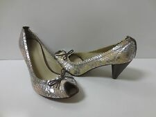 CHIE MIHARA Silver Pink Reptile Peep-toe Pumps Shoes Italy 36 MINT CONDITION