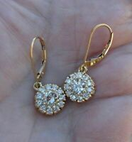 Vintage 1CT Round Cut VVS1 Diamond Halo Dangle Earrings Solid 14K Yellow Gold Fn
