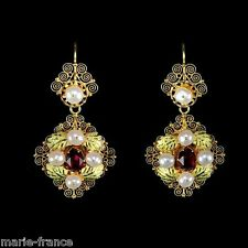 Glorious yellow gold filigree pearl & crystal Art Nouveau dangle earrings, M-F