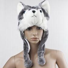 Cartoon Animal Wolf/Husky Cute Fluffy Plush Warm Hat Cap Scarf Earmuff Mascot