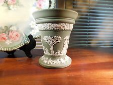 Wedgwood Green Pottery Vase with Flower Frog 1963