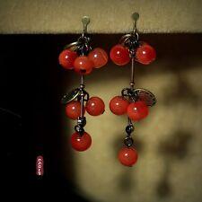 Boucles d'Oreilles Clips Grape Cerise Perle Bordeaux Rouge Retro Original E4