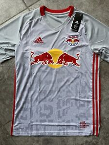 Adidas New York Red Bulls Home Soccer Kit Jersey 2020 Grey Red Men's Size LARGE