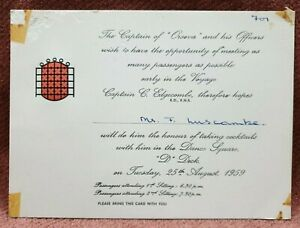 VINTAGE 2 CAPTAIN INVITE TO ATTEND COCKTAILS ON OCEAN LINER SS ORSOVA