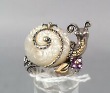 Barbara Bixby Snail MOP Ring - Sterling 18k Gold Topaz Amethyst - SIZE 7