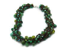 Green Beaded Crochet Necklace - Green Boho Multistrand Layered Necklace