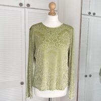 Liz Claiborne Damask Pattern Top Size Medium M Green Floral Velour Long Sleeve