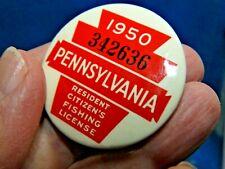 Vintage 1950 Pennsylvania Pa. Resident Fishing License Button Pin / Nice