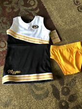 NWT Missouri Tigers Toddler Girls Cheerleader 2 Piece Outfit Set Black Gold 4T