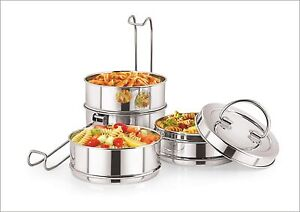 Stainless Steel Four Compartment Tiffin Box with Lid, Silver- 1500 ml