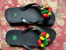 Hotflops Flip Flops Beach Sandals Slipon Black with Chillipepper Size M