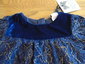 BNWT toddler girl blue/gold lace dress. Miss Mona Mouse. 24 months   (2/1)