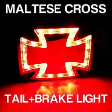 LED Chrome Maltese Cross Rear Tail Brake Light for Motorcycle Chopper Bobber