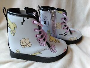 Disney Zip Up Boots Toddler Size 8 Aladdin Beauty And The Beast Little Mermaid