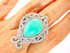 IMPRESSIVE! 24.70CT DIAMOND CHRYSOPRASE(CHALCEDONY) 18K WHITE GOLD COCKTAIL RING