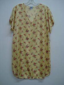 USA Made Nancy King Lingerie Sleepshirt Gown PJ Size Small Yellow Multi #440N