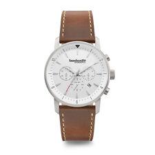 "Lambretta ""Imola White"" Chronograph Quartz Steel Inox Leather Brown Men's Watch"