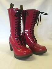 DR DOC MARTENS Red Patent Dee Diva 14 Eye Boot High Heel Sexy US 5 EU 36