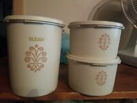 Vintage Set of 3 Tupperware Sevalier Canisters White/Cream 809-14 , 1298-16