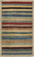 3X5 Hand-Knotted Gabbeh Carpet Tribal Beige Fine Wool Accent Rug C1379