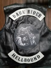 LEATHER VEST WITH CUSTOM LEATHER CENTER PATCH & ROCKERS: ONE OF A KIND !!