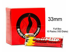 FULL BOX Swift Lite Large 33mm Charcoal Incense Hookah Shisha Pooja Resin 100 pc