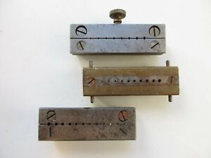 Three vintage split riveting stakes - one with screw - for watchmaker