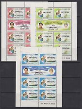 1981 Royal Wedding Charles & Diana MNH Stamp Sheetlets St Vincent Optd OFFICIAL