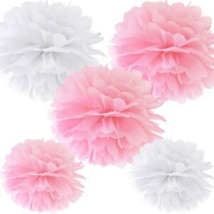 Pom Poms (5 Stück) - rosa & weiß Dekoration Geburtstag Hochzeit Taufe Party
