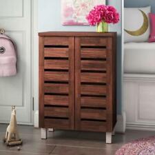 4 Tier Shoe Storage Cabinet 2 Door Cupboard Stand Rack Unit Dirty Oak