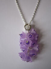 16 inch Silver Plated Necklace & Pendant - Purple / Lilac Flowers