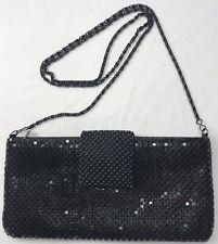 Vintage Dress Clutch Purch Metal Chain Mail Shoulder Strap Black