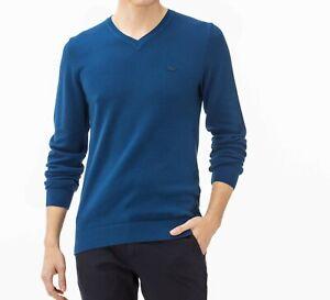 Lacoste Jumper BNWT size XXL (7) Mens V Neck Blue Cotton Seamless Sweater AH4090