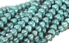 50 Turquoise Luster Bell Flower Czech Glass Beads 6MM