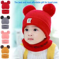 Toddler Kids Girl Boy Baby Infant Winter Crochet Knit Hat Beanie Cap + Scarf Set