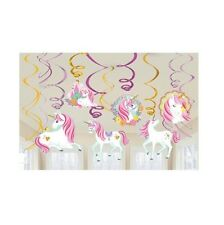 Girls Birthday Party Magical Unicorn Hanging Swirls Decoration 12pcs Swirling