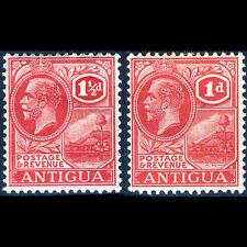 Antigua 1921-29 1d & 1.5d Karminrot Rot Sg 63 & 68. Leicht mit Scharnier
