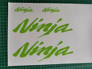 4 x KAWASAKI NINJA TANK FAIRING STICKERS / DECALS - LIME Green -  CAST VINYL