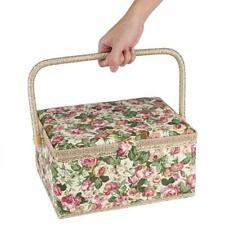 Vintage Fabric Floral Printed Sewing Basket Craft Box Household Sundry Storage
