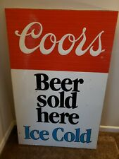 "~Huge~Coors Beer Sold Here Retro Metal Sign 2 Sided 53"" X 34"""