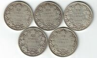 5 X CANADA TWENTY FIVE CENTS QUARTERS KING GEORGE V 800 SILVER COINS 1928 - 1932