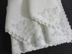Vtg Antique Set 6 Madeira White Linen Napkins Hand Embroidered HEARTS Flowers