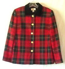 Talbots Petites Red Plaid Wool Blazer Black Velvet Collar Fully Lined Size 8