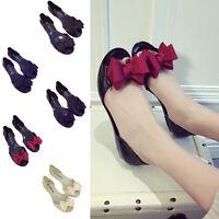 Women Bow Flat Jelly Pumps Ballet Sandals Slip On Shoes Clear Transparent Summer