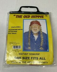 Costume Wig Hippie Braids Bandana Wig Willie Hair The Old Hippie New in Bag