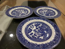"""3 Blue white Willow Plates England Baker & Co. Casserole 7"""""""