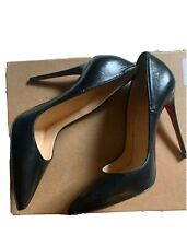 CHRISTIAN LOUBOUTIN So Kate Black Leather Pumps Heels Sz 37
