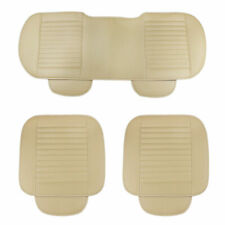 3Pcs/Set PU Leather Car Front Rear Back Seat Beige Cover Protector Cushion Pad