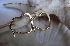 Edelstahl Damen Mädchen Ohrringe Creolen Herz Gold Farben 24mm Ohrschmuck