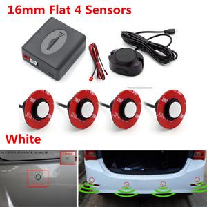 White 4x16mm Flat Parking Sensor Car Reverse Backup Rear Buzzer Radar System Kit
